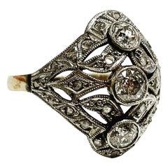 1900s Art Nouveau 3 Stones Yellow Gold Platinum Diamond Ring Antique Bridal Ring