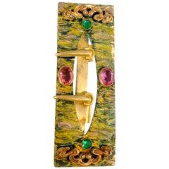 1900's Art Nouveau Brass Sash Buckle