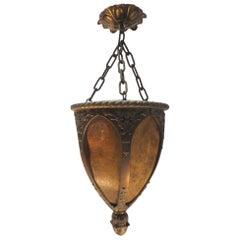 1900s Art Nouveau Cast Bronze Pendant Entryway Lantern Light with Mica Shades