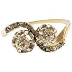 1900s Art Nouveau 18K Yellow Gold Diamond Engagement Ring Antique Bridal Ring