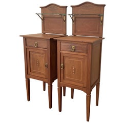 1900s, Art Nouveau Pair of Walnut Nightstands with Crest and Glass Shelve