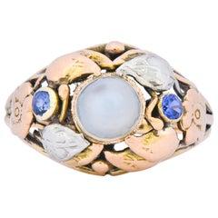 1900s Arts & Crafts Moonstone Sapphire 14 Karat Gold Floral Ring