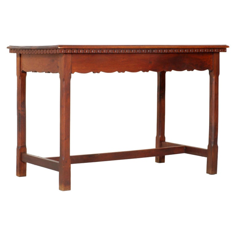 Early 20th century Wiener occasional table, writting desk Art Nouveau, all solid walnut restored and wax polished.  This wiener werkstatte table, with the dimensions of a desk, recovered in Tyrol has exceptional lines and proportions with the edge