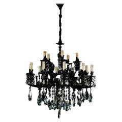 1900s Austrian Ceiling Chandelier 14 Lights, Burnished Bronze Swarovsky Crystal