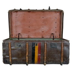 1900s Belgian Leather Suitcase