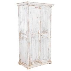 1900s Belgian White Wooden Armoire