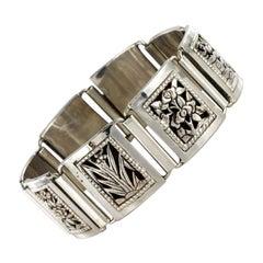 1900s Belle Époque Articulated Square Links Silver Bracelet