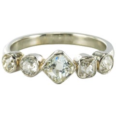 1900s Belle Époque Diamond Platinum and White Gold Band Ring