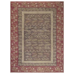 1900s Bessarabian Burgundy, Brown and Beige Handwoven Wool Rug