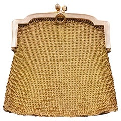 1900s Cartier Sapphire and 14 Carat Gold Mesh Bag