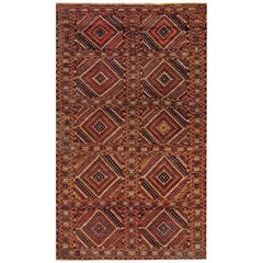 1900s Caucasian Handmade Wool Rug in Beige, Blue, Brown and Red