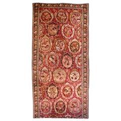 1900s Caucasian Karabagh Botanic Rose Red Handmade Wool Carpet