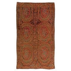 1900s Caucasian Karabagh Handmade Wool Carpet in Red, Orange and Brown