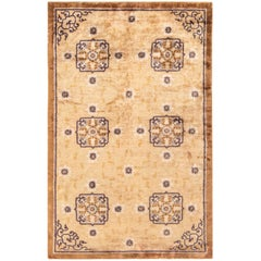 1900s Chinese Sandy Beige, Camel and Anthracite Handwoven Silk Rug