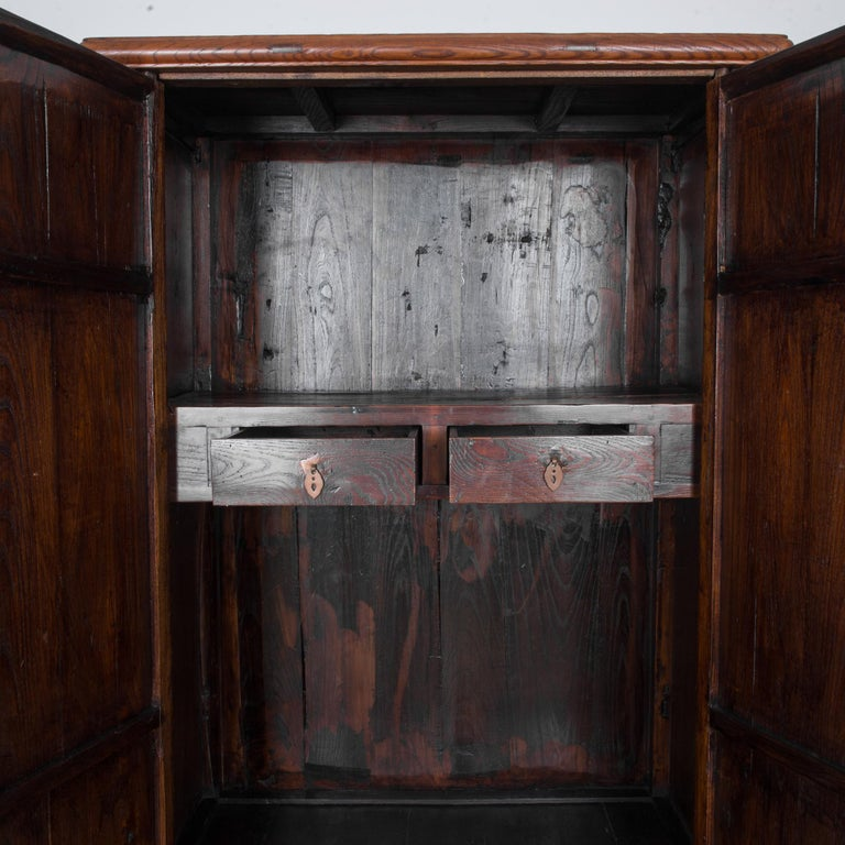 Elm 1900s Chinese Wooden Armoire For Sale