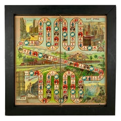 1900s Chromolithograph A Train Trip with Phoebe Snow Childrens Game Board Framed