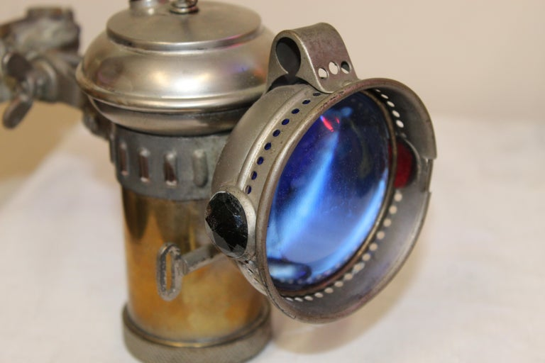 American 1900s Columbia Model C Carbide Motorcycle/Bicycle Lantern For Sale