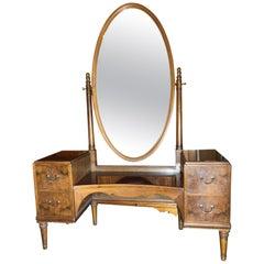 1900s Console in Walnut Mirror Vanity
