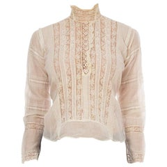Victorian Cream Cotton & Lace High Swan Neck Blouse With Trim Sleeves Hand-Made