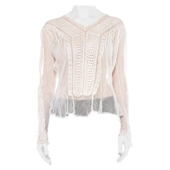 1900S White Sheer Cotton Net Blouse With Cluny Style Lace Insertion In The Bodi