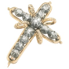 1900s Cross Diamond Silver Gold Brooch