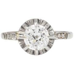 1900s Diamond 18 Karat White Gold Solitaire Ring