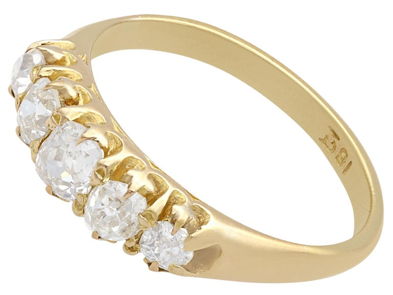 Old European Cut Antique 1900s Diamond and Yellow Gold Five-Stone Ring For Sale