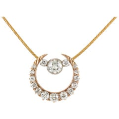 1900s Diamond Moon with One Diamond Necklace