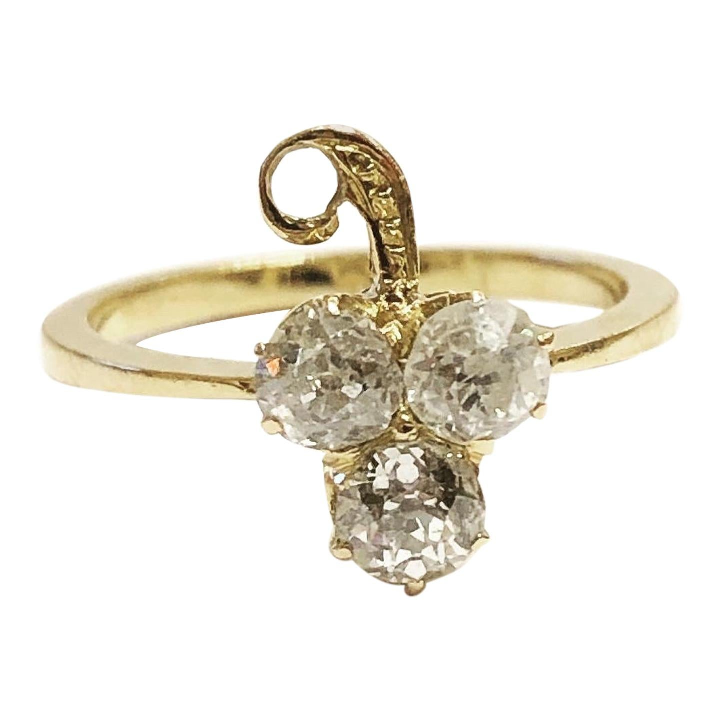1900s Diamonds Yellow Gold Clover Cocktail Ring