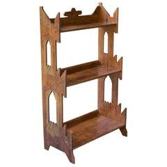 1900s Eastlake Carved 3-Tiered Shelf Cabinmodern Arts+Crafts Wunderkammer Rustic