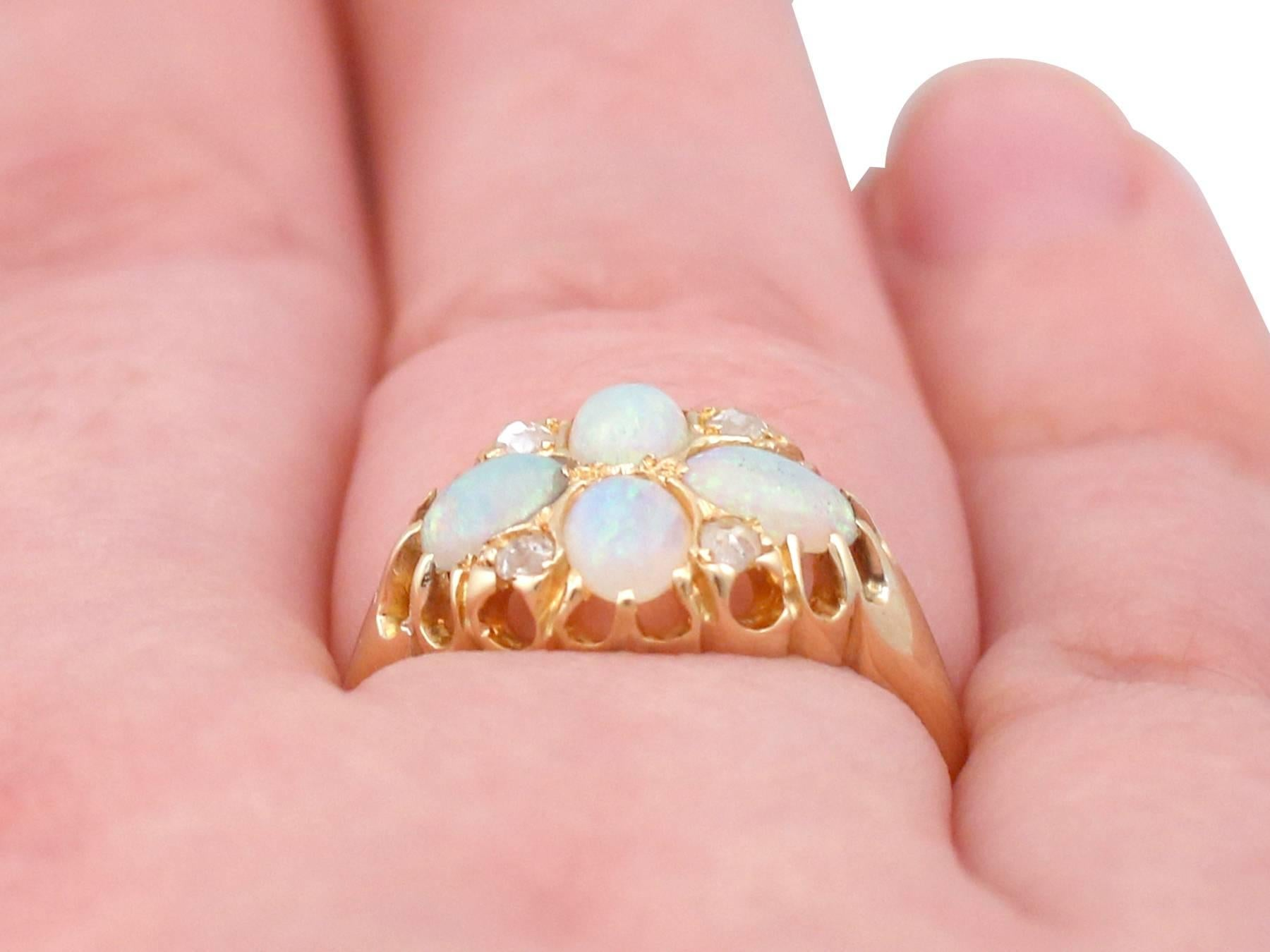 1900s Edwardian Opal and Diamond Yellow Gold Dress Ring For Sale at ...
