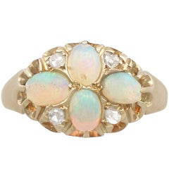 1900s Edwardian Opal and Diamond Yellow Gold Dress Ring