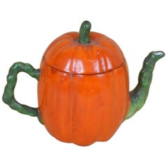 1900s Edwardian Porcelain Pumpkin Shaped Teapot Made in England