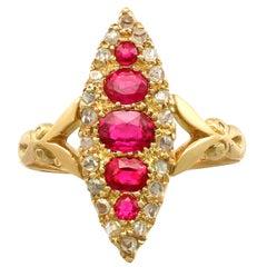 1900s Edwardian Ruby Diamond Gold Marquise Ring