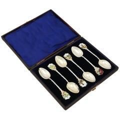 1900s Edwardian Sterling Silver and Enamel Spoons