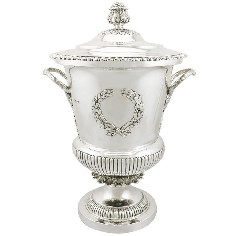 1900s Edwardian Sterling Silver Presentation Cup and Cover For Sale