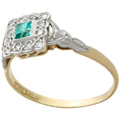 1900s Emerald Diamond Yellow Gold Cocktail Ring