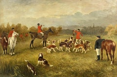 Large Antique English Signed Oil Painting - Fox Hunting Scene Horses & Hounds