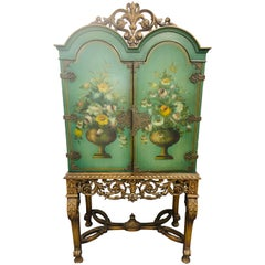 1900's English Floral Paint Decorated Radio Cabinet Cupboard