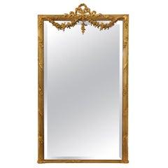 1900s European Rectangular Gold Gilded Ornate over Mantel Mirror