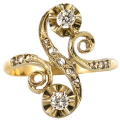 1900s French Art Nouveau Antique Diamond Two Gold S-Shaped Ring
