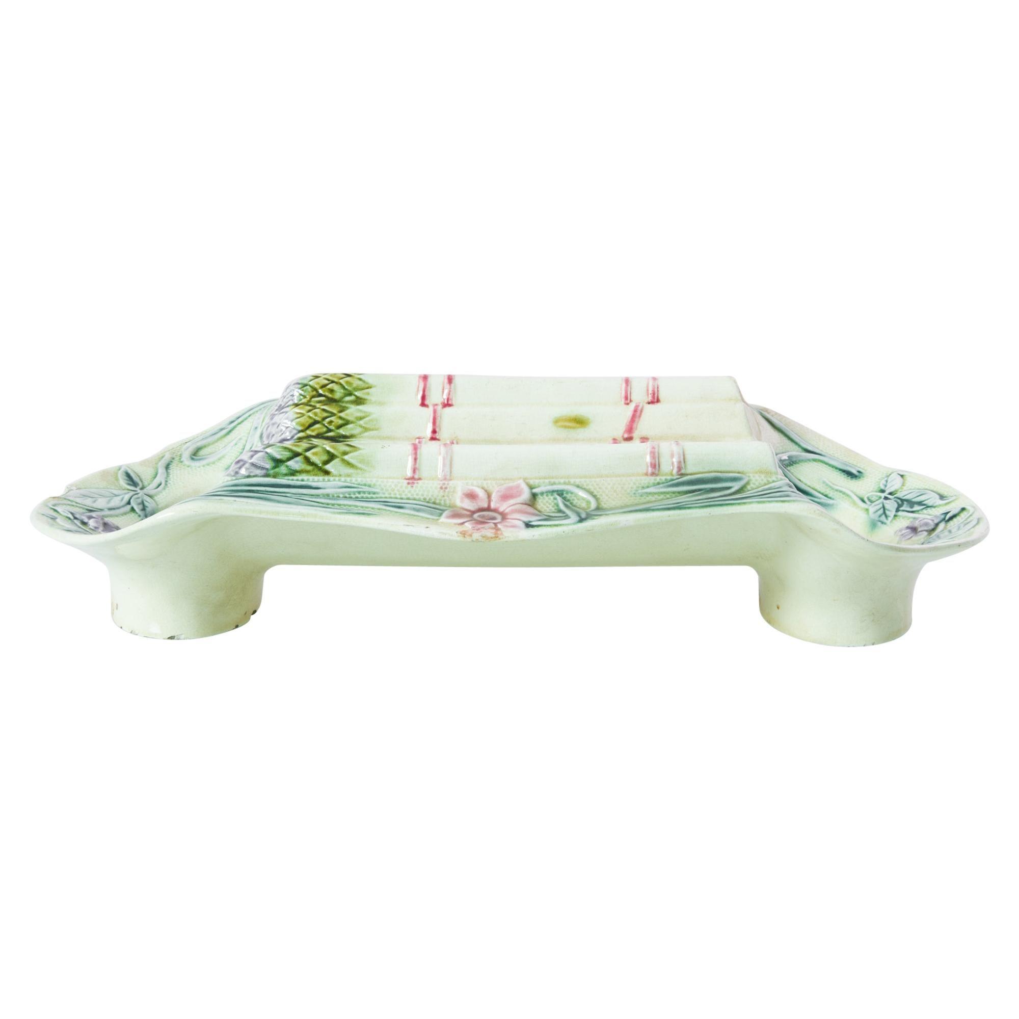 1900s French Ceramic Asparagus Platter
