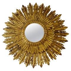 1900s French Huge Double Gold Gilt Sunburst Starburst Mirror