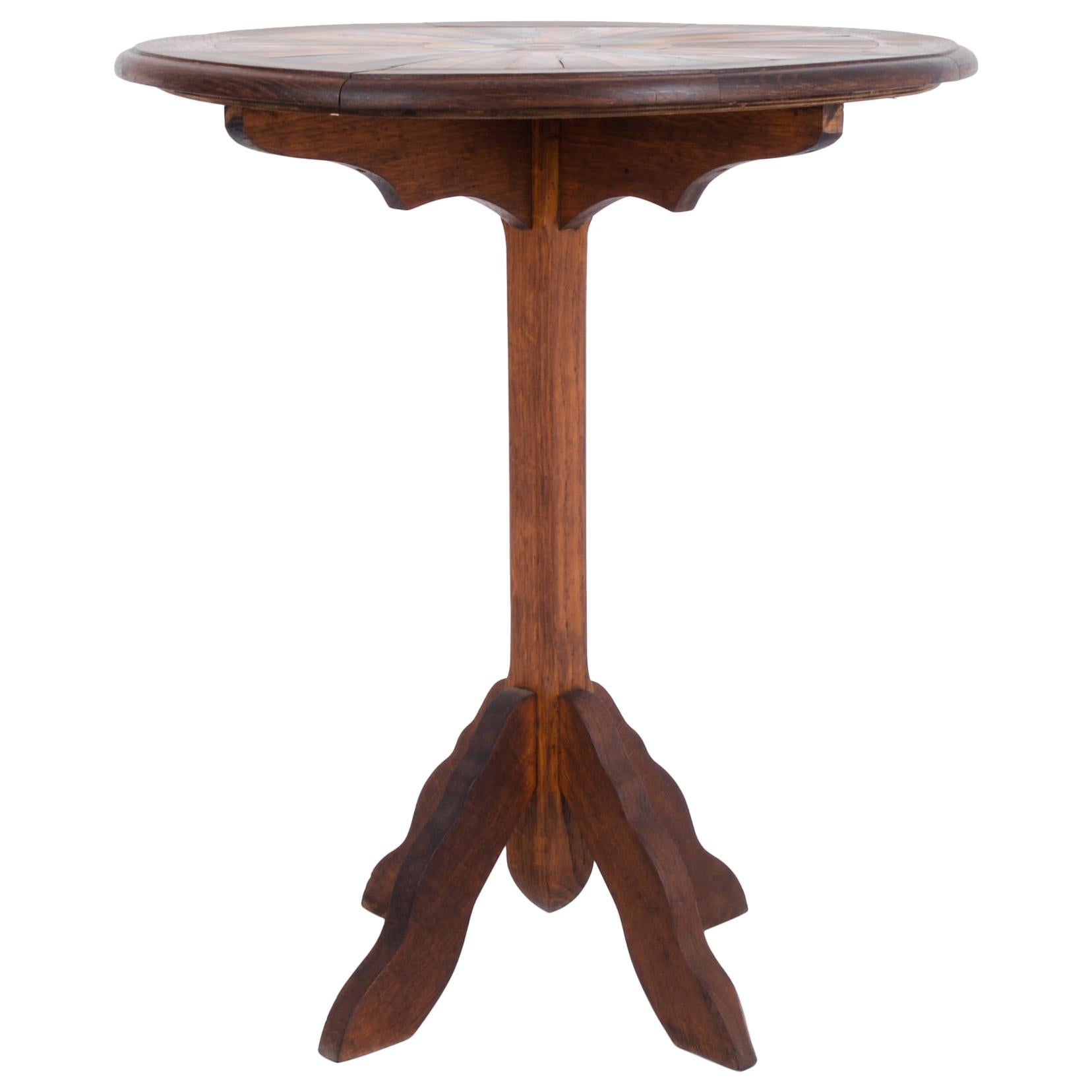 1900s French Marquetry Top Wooden Side Table
