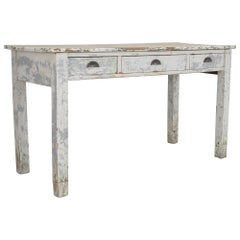 1900s French Patinated Three-Drawer Table