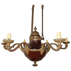 1900s French Red Empire Period Bronze Figural Face Horns Chandelier