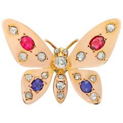 1900s French Ruby and Sapphire Gold Butterfly Brooch