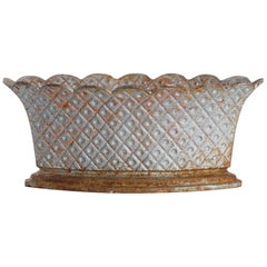 1900s French Silver Lattice Cast Iron Planter