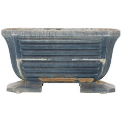 1900s French Slate Blue Cast Iron Planter