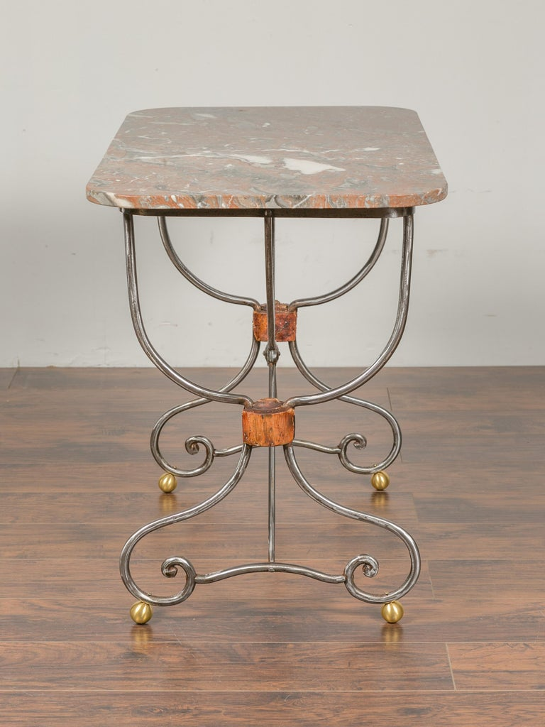 1900s French Steel Console Table with Marble Top and Petite Brass Ball Feet For Sale 6